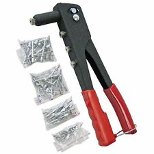 Hand Riveter Set 100 Rivets Metal Leather Plastic Durable All Steel Construction