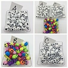 100 Skull Beads Halloween Bracelet Acrylic Skeleton Jewelry White Color Mix 10mm