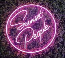 Glass Neon Sunset People Party Bar Office Cafe Decor Light Sign