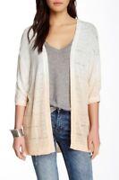 Wallpapher Dip Dye Cardigan Sweater Junior's Ivory Peach NWOT Size Pl