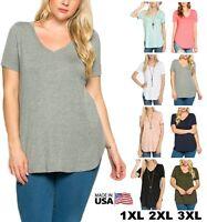 USA Women Loose V-Neck Long Tunic Top Short Sleeve Scallop Hem T-Shirt PLUS 1~3X