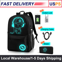 Anti-Theft Luminous Backpack with USB Charger Port Travel Laptop Shoulder Bag US