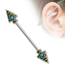 14g 1-1/2 Tribal Spear Turquoise Set Industrial Barbell Body Jewelry Piercing