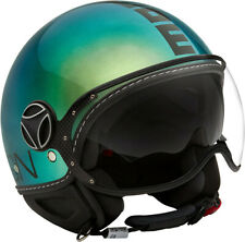 JET HELMET MOMO DESIGN FIGHTER CLASSIC POP GREEN BLUE - BLACK SIZE L