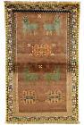 Vintage Tribal Oriental Gabbeh Rug, 3'x5', Brown, Hand-Knotted Wool Pile