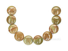 "10 Saturn Jasper Flat Round Coin Beads 18mm 7"" #69080"