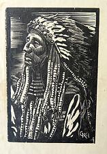 Vintage Wood block Print Gan Kolski Polish-American 1899-1932