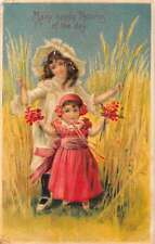 Many Happy Returns of the Day two little girls flowers antique pc Z16882
