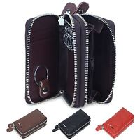 Men women real Genuine Leather Car Key Holder Accessory Chain pouch Wallet Case
