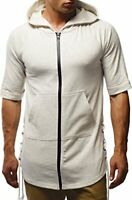 LEIF NELSON Men's Modern T-Shirt with Hood Shortsleeve  Slim Fit X-Large  Ecru.