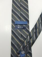 Altea Milano Blue Grey Striped Silk Long Tie Hand Made in Italy 61""