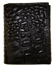 AG Wallets Mens Trifold Crocodile Embossed Credit Card ID Leather Black Wallet