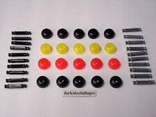 """Knex Lot Head Tops w/Black and Silver 1 5/16"""" Rods 40 Replacement Parts / Pieces"""