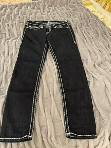True Religion Jeans für Damen in dark denim mit breiten weißen Steppnähten Größe