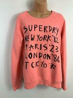 WOMENS SUPERDRY PINK EMBELLISHED CASUAL LONG SLEEVE CREW NECK JUMPER SIZE SMALL