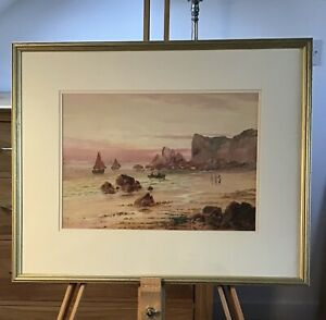 Sidney Yates Johnson - watercolour of Fisherfolk and fishing boats