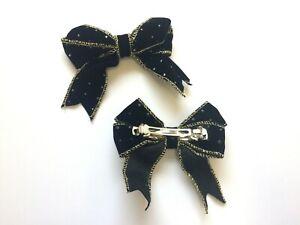 2 x Retro French Barrette Hair Clip Bows, Black & Gold Design. UK Stock