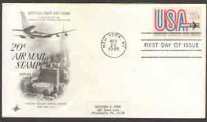 """US. C75. 20c. """"USA"""" and Jet FDC. 1968"""