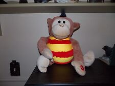 "Mushabelly Chatter  Monkey Plush Sound  Round Microbead Brown 18"""