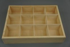 Wooden Tray Box 12 Compartment Display Storage Section Jewellery Keepsake 12-BW