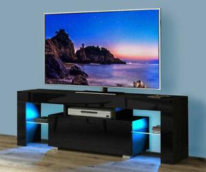 """130CM Modern TV Unit Cabinet Stand Matt body and High Gloss Doors LED Light 51"""""""