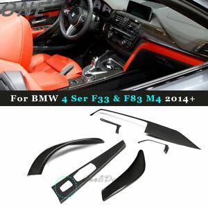 For BMW 4 Ser F33 &F83 M4 Dry Carbon Fiber Interior Trim Dashboard Overlay Cover