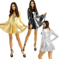 Women's Ladies Metallic Long Sleeves Dress Evening Party Clubwear Prom Dress