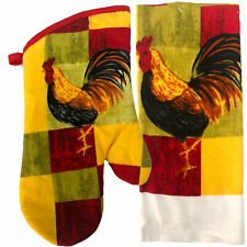 Colorful Red Block Rooster Oven Mitt & Towel Kitchen Decor Home Collection
