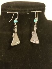 Silver tone no markings drop dangle earrings angel shaped with turquoise