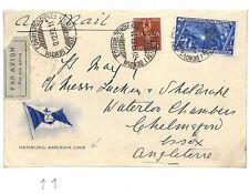 A241 1932 ITALY MARITIME *Hamburg America Line* Envelope Sent Airmail Chelmsford