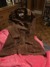 Wilsons Leather Maxima Brown Suede Trench Jacket Tie Coat Womens Xl
