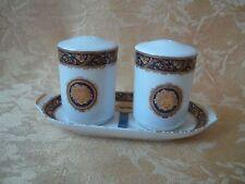 T.Limoges Bacchus Designed in France Porcelain Salt & Pepper Shakers W Tray MIB