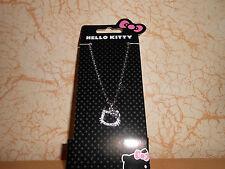 collier chaîne pendentif fantaisie HELLO KITTY strass argenté/noir - neuf