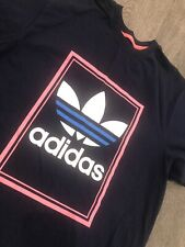 Vintage Retro Adidas Originals Azul Trébol Logo T-shirt Tamaño L