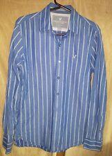 American Eagle Long Sleeve Button Down Blue White Stripe Mens Small