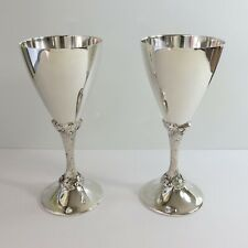 Vintage Perfection Silverplate Set of 2 Wine Champagne Goblets/Cups, Grape Vine