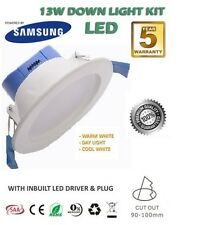 13W SAMSUNG LED DOWNLIGHT KIT DIMMABLE SATIN CHROME SILVER WARM WHITE 3000K
