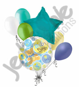 7 pc Baby Boy Bear & Things Shower Balloon Bouquet Party Decoration Infant Blue