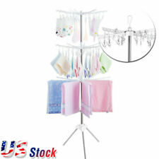 3-Tier Clothes Drying Rack Line Laundry Dryer Indoor Retractable Folding Stand