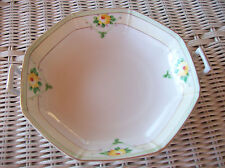 Meito China Double Handle Hand Painted Yellow Flowers Octagon Bowl Japan