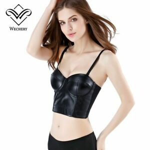 Leather Bra Tops Gothic Push Up Bra Corsage Sexy Lingerie Corset Bustier Bralet
