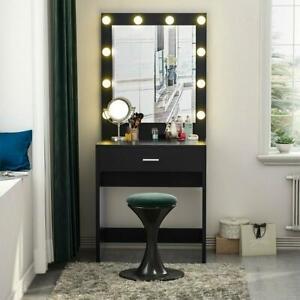 Vanity Set with LED Lighted Mirror Makeup Dressing Table Dresser Desk Table