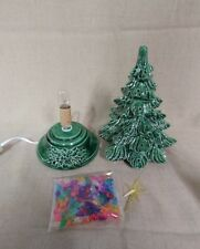 "Ceramic Christmas Tree Lighted 10"" - U Decorate - Green Glaze - Green Holly Base"