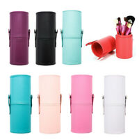 BG_ Travel Faux Leather Makeup Brush Pen Storage Empty Holder Cosmetic Cup Cases