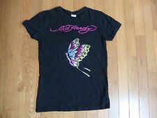 ED HARDY girls kids L (12 )~butterfly rhinestones crystals t-shirt tee cotton
