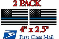 """(2 Pack!) THIN BLUE LINE 4"""" x 2.5"""" DECALS STICKER POLICE Subdued Flag"""