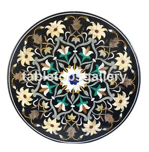 """32"""" Round Marble Side Coffee Table Top Precious Floral Inlay Occasion Decor B132"""