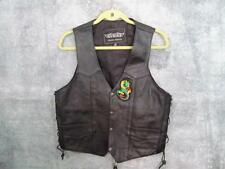 Unik Leather Motorcycle Vest 40 Black Pockets Lace Up Side Harley Davidson Skull