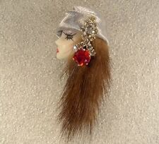 LADY HEAD doll FACE Porcelain-Look Resin Brooch Pin Figural RS Mink Handmade