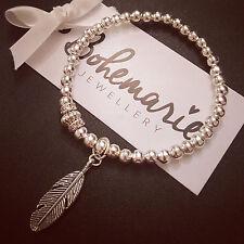 Silver plated feather charm bracelet gemstone bijoux jewellery boho gypsy stack